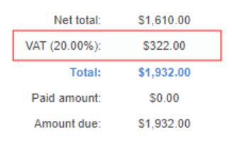 Tax percentage and total tax amount